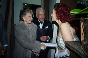 LESLIE CARON; NICKY HASLAM; CLEO ROCOS Nicky Haslam hosts dinner at  Gigi's for Leslie Caron. 22 Woodstock St. London. W1C 2AR. 25 March 2015