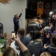Democratic presidential candidate Elizabeth Warren addresses supporters and potential caucus voters at Peace Tree Brewing Company in Des Moines, Iowa on Friday, January 31, 2020 after arriving to the state from the impeachment proceedings of President Trump in Washington, D.C.