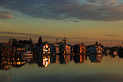 Canada, British Columbia, Fraser River,  house boats at sunset