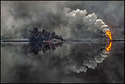 """Burning oil lake, Kuwait - 'Sadam's Bonfire"""" THE SUNDAY TIMES MAGAZINE (UK)"""