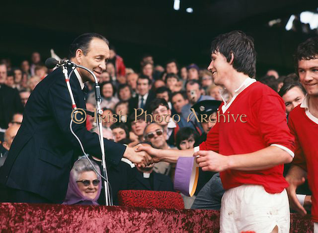 The Cork captain shaking hands about to receive the Liam MacCarthy Cup after their win at the All Ireland Senior Hurling Final, Cork v Wexford in Croke Park on the 4th September 1977. Cork 1-17 Wexford 3-8.