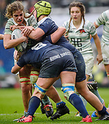 Twickenham, Surrey. UK.  Cambridge Flanker, Chloe WITHERS, pushing for the touch line, during the 2017 Women's Varsity Rugby Match, Oxford vs Cambridge Universities. RFU Stadium, Twickenham. Surrey, England.<br /> <br /> Thursday  07.12.17  <br /> <br /> [Mandatory Credit Peter SPURRIER/Intersport Images]