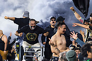 LAFC fans react during a MLS soccer match against the Sporting KC in Los Angeles, Sunday, March 3, 2019. LAFC defeated Sporting KC, 2-1. (Ed Ruvalcaba/Image of Sport)