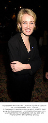 TV presenter ANASTASIA COOKE at a party in London on 21st November 2000.OJH 35