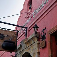South America, Chile, Santiago. Como Agua para Chocolate restaurant sign.