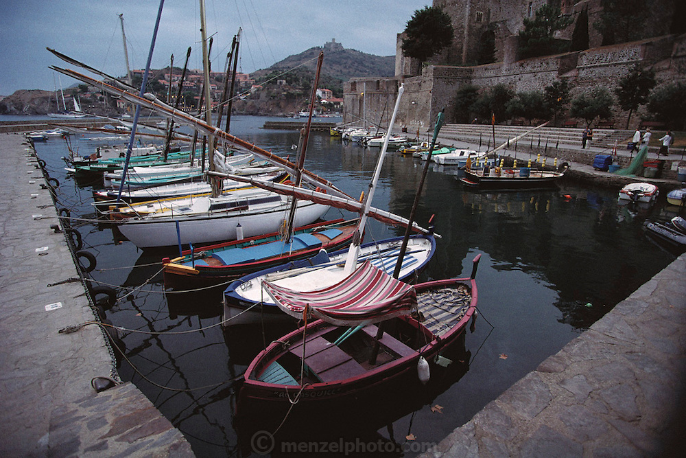 Boats in the Mediterranean harbor of Collioure, France.