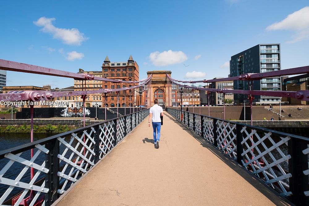 South Portland Street Suspension footbridge crossing River Clyde in Glasgow United Kingdom