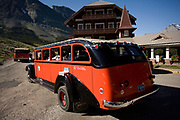 Red buses at Many Glacier Lodge, Glacier National Park.