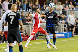 June 13, 2018 - San Jose, CA, U.S. - SAN JOSE, CA - JUNE 13: San Jose Earthquakes Forward Chris Wondolowski (8) and New England Revolution Forward Krisztian Nemeth (9) challenge for the ball during the MLS game between the New England Revolution and the San Jose Earthquakes on June 13, 2018, at Avaya Stadium in San Jose, CA. The game ended in a 2-2 tie. (Photo by Bob Kupbens/Icon Sportswire) (Credit Image: © Bob Kupbens/Icon SMI via ZUMA Press)