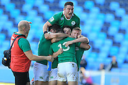 Ireland players celebrate their final try scored by Shane Daly (13).World Rugby U20 Championship 2016,  Semi Final match,  Match 23  , Ireland U20's  v Argentina U20's at the Manchester city Academy Stadium in Manchester, Lancs on Monday 20th June 2016, pic by  Andrew Orchard, Andrew Orchard sports photography.