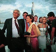 George Plimpton, Richard Holbrooke, Katie Marton,  Sarah Jessica Parker  at the Talk magazine launch. New York. 2 September 1999.<br /> © Copyright Photograph by Dafydd Jones<br /> 66 Stockwell Park Rd. London SW9 0DA<br /> Tel 0171 733 0108
