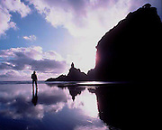 A man stands facing a monolithic rock and both are reflected on the wet beach near Auckland, New Zealand