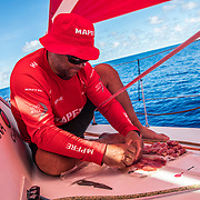 Leg 4, Melbourne to Hong Kong, day 08 on board MAPFRE, Pablo Arrarte preparing a snack, ''Jamon Serrano'' and cheese Rolls. That's the key of a good performance. Photo by Ugo Fonolla/Volvo Ocean Race. 08 January, 2018.
