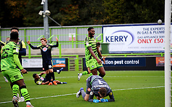 Jake Young of Forest Green Rovers scores a goal making it 1-0- Mandatory by-line: Nizaam Jones/JMP - 17/10/2020 - FOOTBALL - innocent New Lawn Stadium - Nailsworth, England - Forest Green Rovers v Stevenage - Sky Bet League Two