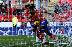 Rangers' Alfredo Morelos (centre) celebrates scoring his side's first goal of the game during the Ladbrokes Scottish Premiership match at McDiarmid Park, Perth.