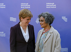 Arundhati Roy & Nicola Sturgeon appear at the 2019 Edinburgh International Book Festival.<br /> <br /> Acclaimed author Arundhati Roy talks to First Minister Nicola Sturgeon about the Indian author's life, work and growing up with prejudice and struggle.<br /> <br /> © Dave Johnston / EEm