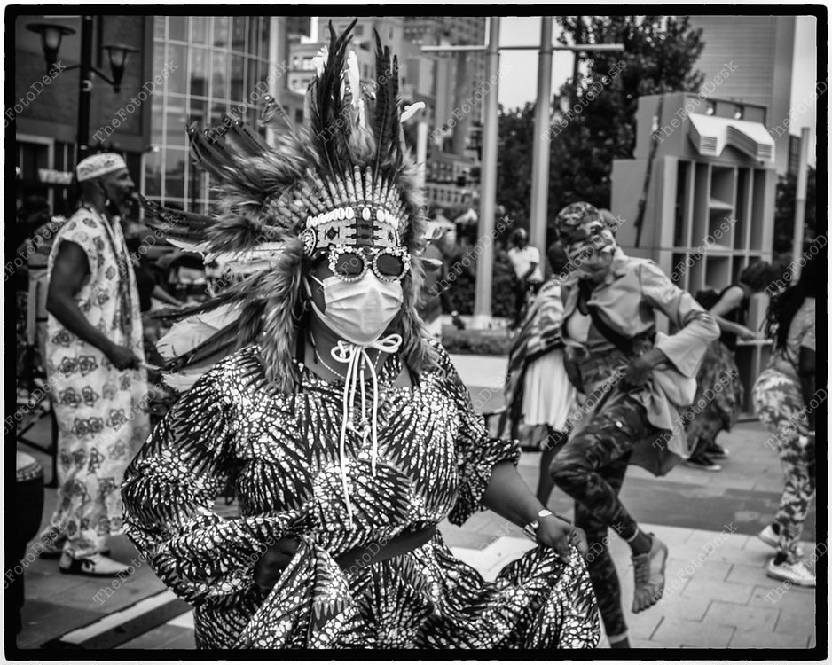 NEWARK, NEW JERSEY: Janice the chief in her native nation regalia during Bang The Drum House Music a day in the park at Mulberry Commons in in Newark, NJ on Sunday, August 29, 2021. (Brian B Price/TheFotodesk).