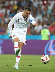 SOCHI, June 30, 2018  Cristiano Ronaldo of Portugal shoots during the 2018 FIFA World Cup round of 16 match between Uruguay and Portugal in Sochi, Russia, June 30, 2018. Uruguay won 2-1 and advanced to the quarter-final. (Credit Image: © Ye Pingfan/Xinhua via ZUMA Wire)