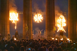 "Edinburgh, Scotland, UK. 30 April, 2019. Beltane Fire Festival ushers in summer on Tuesday 30th April with a spectacular display of fire, immersive theatre, drumming, body paint, and elaborate costumes. Described by some as the ""medieval Burning Man"", this alternative May Day celebration re-imagines the ancient Celtic festival with roughly 300 volunteer performers for thousands of spectators from all over the world on top of Calton Hill in Edinburgh . Pictured The May Queen on the National Monument<br /> <br /> <br /> WHEN"