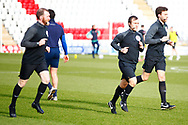 The referees warming up during the EFL Sky Bet League 2 match between Stevenage and Walsall at the Lamex Stadium, Stevenage, England on 20 February 2021.