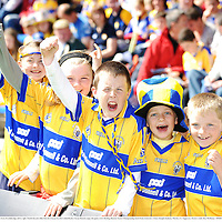 22 June 2008; Clare supporters from Sixmilebridge, left to right, Niamh Hassett, Ellen Farrell, Ciaran Farrell, Cathal Roche, Ciaran Hassett, enjoy the game, GAA Hurling Munster Senior Championship Semi-Final, Limerick v Clare, Semple Stadium, Thurles, Co. Tipperary. Picture credit: Ray McManus / SPORTSFILE