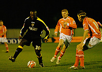 MATTHEW POVER PICTURE                                                +447971 184305<br /> <br /> 11/12/07 .... Blackpool v Cardiff<br /> Cardiff's Jimmy Floyd Hasselbaink takes on Kaspars Gorkss.