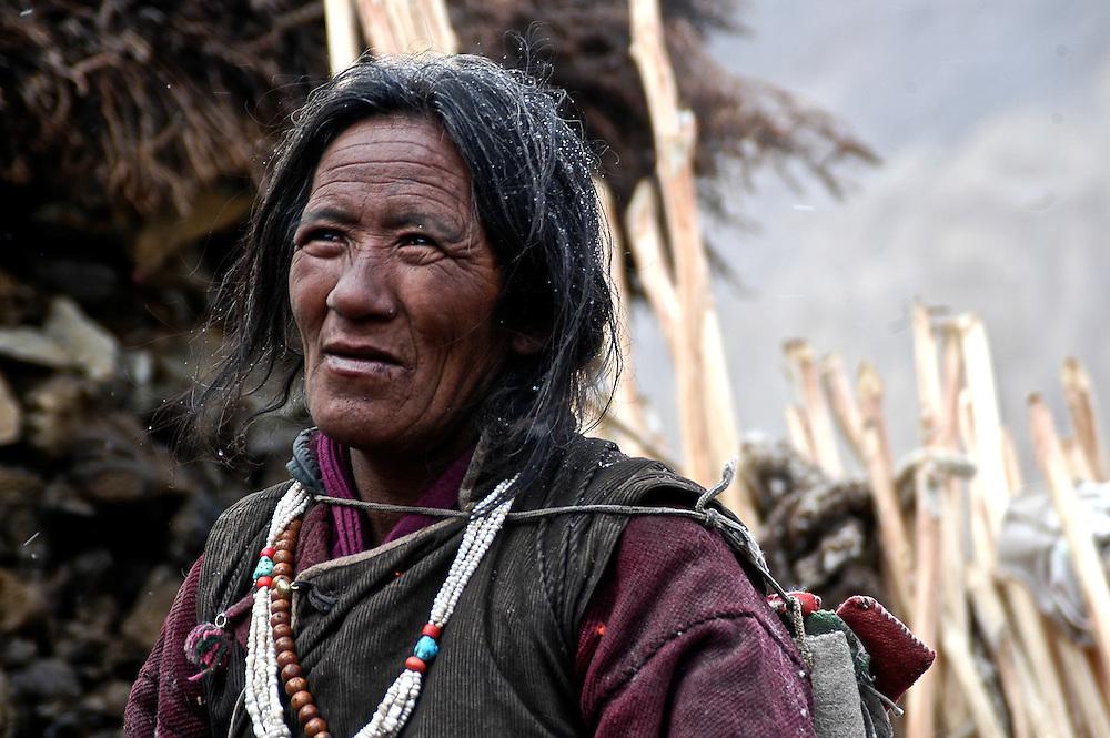 A Karnak Nomad Woman on Ladakh's Changtang Plateau.