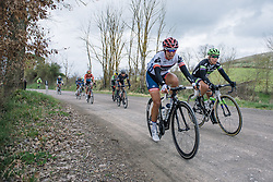 Carmen Small attacks the second gravel sector - 2016 Strade Bianche - Elite Women, a 121km road race from Siena to Piazza del Campo on March 5, 2016 in Tuscany, Italy.