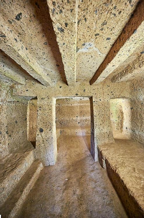 "Interior of an Etruscan ""dado: (dice) tomb known as Tomba Maroi dating form the 7th century BC, Necropoli della Banditaccia, Cerveteri, Italy. A UNESCO World Heritage Site"