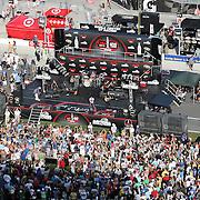 Pat Monahan of the Grammy award winning band Train sings during a one hour performance prior to the start of the NASCAR Coke Zero 400 race at Daytona International Speedway in Daytona Beach, Fl., on Saturday July 7, 2012. (AP Photo/Alex Menendez) Grammy Award winning band TRAIN plays an hour long concert prior to the NASCAR Coke Zero 400 race at Daytona International Speedway in Daytona Beach, Florida on July 7, 2012.