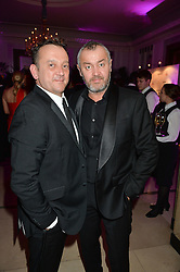 Left to right, ROB VAN HELDEN and SEBASTIAN BARBEREAU at the QBF Spring Gala in aid of the Red Cross War Memorial Children's Hospital hosted by Heather Kerzner and Jeanette Calliva at Claridge's, Brook Street, London on 12th May 2015.