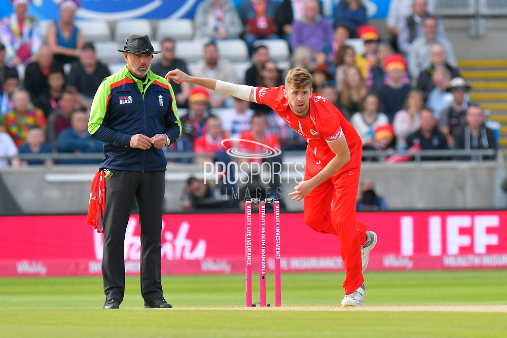 Toby Lester of Lancashire bowling during the Vitality T20 Finals Day Semi Final 2018 match between Worcestershire Rapids and Lancashire Lightning at Edgbaston, Birmingham, United Kingdom on 15 September 2018.