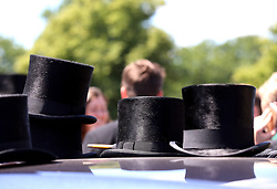 Top hats resting on top of a car during day four of Royal Ascot at Ascot Racecourse.