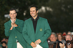April 14, 2008 - Zach Johnson, left, the 2007 Masters champion, claps after putting the green jacket on Trevor Immelman during the green jacket presentation after the final round of the Masters tournament at Augusta National Golf Club, Sunday, April 13, 2008, in Augusta, Georgia. (C. Aluka Berry/The State/MCT) (Credit Image: © C. Aluka Berry/MCT/ZUMAPRESS.com)