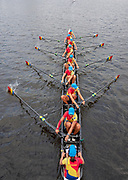 Glasgow, Scotland, Friday, 3rd  August 2018, Romainian Women's Eight, ROU W8+, returning to the, Boating Area, European Games, Rowing, Strathclyde Park, North Lanarkshire, © Peter SPURRIER/Alamy Live News
