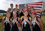 2006, U23 Rowing, Championships, Hazewinkel, BELGIUM Sunday, 23.07.2006. Gold medallist USA BW8+  Photo  Peter Spurrier/Intersport Images email images@intersport-images.com..[Mandatory Credit Peter Spurrier/ Intersport Images] Rowing Course, Bloso, Hazewinkel. BELGUIM