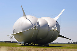 New Airlander (Bum) largest airship is pulled out of its hanger at Cardigan in Bedfordshire ready for its maiden voyage today 14th August 2016<br /> <br /> (c) Mike Capps | Edinburgh Elite media