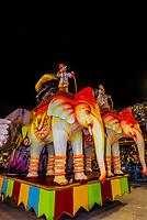 Floats in in the Carnaval parade of Academicos do Sossego samba school in the Sambadrome, Rio de Janeiro, Brazil.