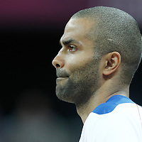 06 August 2012:  France Tony Parker is seen prior to the 79-73 Team France victory over Team Nigeria, during the men's basketball preliminary, at the Basketball Arena, in London, Great Britain.