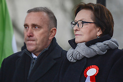 November 11, 2016 - Warsaw, Poland - Ewa Kopacz, the former Prime Minister of Poland, at Grzegorz Schetyna, the former a former Marshal of the Sejm and the a leader of Civic Platform (PO) at the present, during the Committee for the Defense of Democracy (KOD) gathering on Friday 11th November, ahead of the march to mark the 98th anniversary of Poland's independence. .On Friday, 11 November 2016, in Warsaw, Poland. (Credit Image: © Artur Widak/NurPhoto via ZUMA Press)