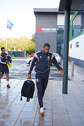 NEWPORT, WALES - Tuesday, October 7, 2014: Wales' captain Ashley Williams arrives for training at Dragon Park National Football Development Centre ahead of the UEFA Euro 2016 qualifying match against Bosnia and Herzegovina. (Pic by David Rawcliffe/Propaganda)