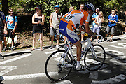 France, Bedoin, 25 July 2009: Laurens ten Dam (Ned) Rabobank during the climb through the forest to the summit of Mont Ventoux. Images from Stage 20 - Montélimar to Mont Ventoux (167 km). Photo by Peter Horrell / http://peterhorrell.com .