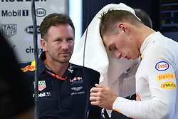 SINGAPORE, Sept. 16, 2017  Red Bull Racing Tag Heuer's Dutch driver Max Verstappen (R) reacts as Red Bull Racing's team principal Christian Horner looks on in the pit during the third practice session of the Formula One Singapore Grand Prix in Singapore on Sept. 16, 2017. Max Verstappen posted the fastest time with 1:41.829 in the final and final practice ahead of qualifying later Saturday.  wll) (Credit Image: © Then Chih Wey/Xinhua via ZUMA Wire)