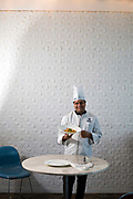 Head chef at the Park Hotel, Anurudh Khanna with a dish of shahi paneer in the restaurant, New Delhi, India