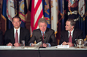 US President Bill Clinton with Vice President Al Gore and Governor Tom Carper opens the National Governor's Association meeting being February 22, 1999 in Washington, DC.