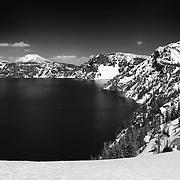 Mount Scott South Rim Edge View - Crater Lake - Black & White