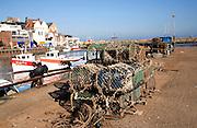 Lobster pots on the quayside Bridlington harbour, Yorkshire, England