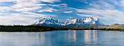 Sunset view of Torres del Paine National Park over Rio Serrano, Tyndall, Chile.