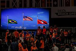 07-01-2018 NED: DELA Beach Open day 5, Den Haag<br /> De winnaars van de Dela Beach Open, Brazilië, USA en Zwitserland. Vlaggen video wall
