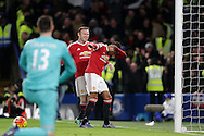 Jesse Lingard of Manchester United ®celebrates with Wayne Rooney, the Manchester United captain after scoring his teams 1st goal to make it 0-1. Barclays Premier league match, Chelsea v Manchester Utd at Stamford Bridge in London on Sunday 7th February 2016.<br /> pic by John Patrick Fletcher, Andrew Orchard sports photography.
